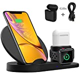 Bestrans Caricatore Wireless, Supporto di Ricarica 3 in 1 per AirPods Apple Watch 3/2/1, 7,5W per iPhone XS/XS Max/XR/X / 8/8 Plus, 10W per Samsung Galaxy S9 / S9 Plus/Note 8 / S8 / S8 Plus