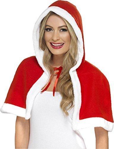Damen Weihnachten Miss Santa Claus Kostüm Mini rot Umhang Kostüm (Kostüm Miss Claus)