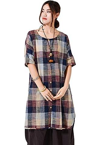 Vogstyle Femme Chemise T-shirt Longue Vert Plaid Rouge