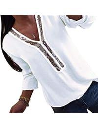 8a75229c421c0 Kuncg Chemisier Femmes avec Paillettes Shirt Haut Couleur Unie Blouse Col  en V Tops T-Shirt Manche Longue…