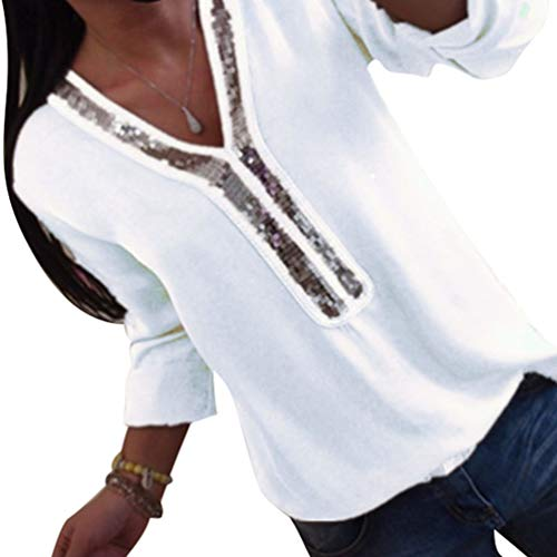 Kuncg Bluse Damen Elegant Damenblusen Langarm mit Paillette Einfarbig Tops Shirts Hemd V-Ausschnitt Blusenshirt Langarmshirt Oberteile (Weiß,CN 2XL)