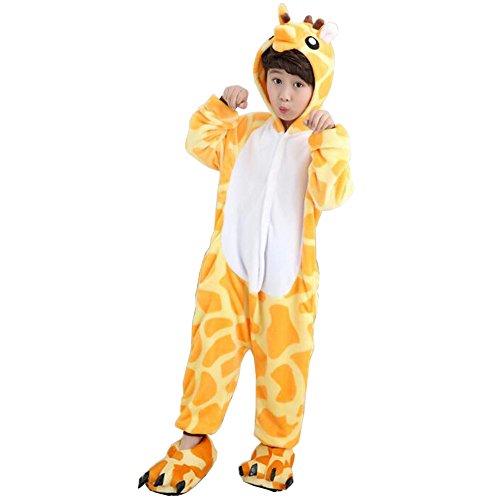 Unisexe Pyjama Siamois Pour Enfants Kigurumi Cartoon Cosplay Costume Onesie Animaux Noël Halloween Déguisement,Girafe- Girafe - Taille 125 -- Pour hauteur 136-145cm