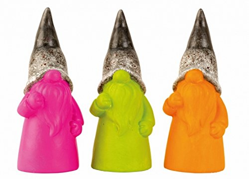 Designer Gartenzwerge Set 3tlg. Zwerge lustige Gartenfiguren für Außen, Gartenzwerg Modern Pink, Grün und Orange Gnom