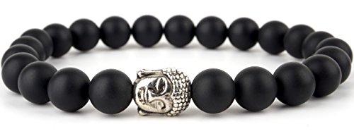 GOOD.designs Buddhismus Perlenarmband aus echten Natursteinen und edler Buddha-Kopf Perle, Chakra-Schmuck für Damen und Herren, Yoga-bracelet (Onyxstein)