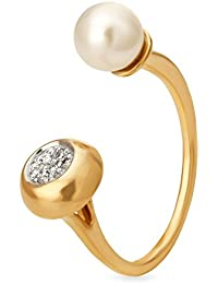 Mia By Tanishq 14KT Yellow Gold, Diamond And Pearl Ring For Women