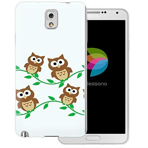 dessana Comic Eule transparente Schutzhülle Handy Case Cover Tasche für Samsung Galaxy Note 3 Eule Baum Äste (Eule Handy Cover Für Note 3)