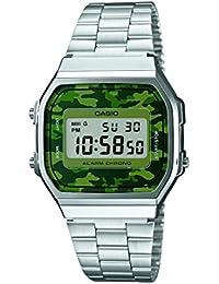 CASIO A168WEC-3 - Reloj de cuarzo, para hombre, color verde y plateado