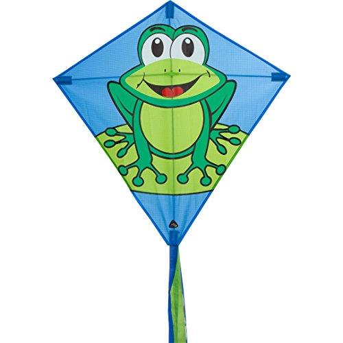 Invento 100119 - Eddy Funny Frog Kinderdrachen Einleiner, Ab 5 Jahren, 68 x 68 cm und 2 m Drachenschwanz Ripstop-Polyester 2-5 Beaufort