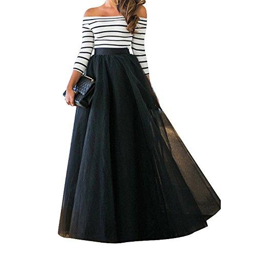 Shujin Damen Sommer Elegant 2 Teile Streifen Kleid aus 3/4 Ärmel Schulterfrei Shirt mit Cocktail Tüll Maxirock Abendkleid Set