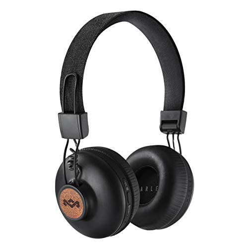 House of Marley Positive Vibration 2 BT - Kabellose Bluetooth On-Ear Kopfhörer, Geräuschisolierung, Premium Sound, Mikrofon, Laden via USB, 10 Std. Akkulaufzeit, nachhaltige Materialien - Sig Black (Z-brand Shorts)