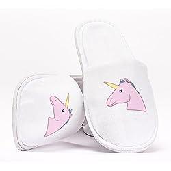 Unicorn Emoji Pink Animal Pantuflas como Regalo Original para Despedidas de Soltera Bodas Cumpleaños o Viajar de Talla Única