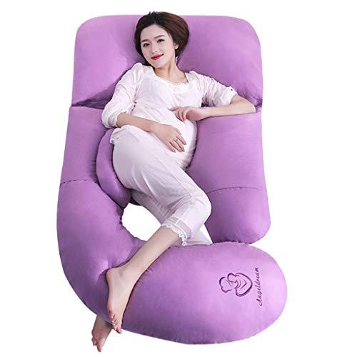 Max Home Extra groß (185cm x 80cm) Schwangerschaft Kissen, Mutterschaft Kissen, Ganzkörper-Kissen und Stillkissen mit 100% Baumwolle Kissenbezug (Farbe : Purple)