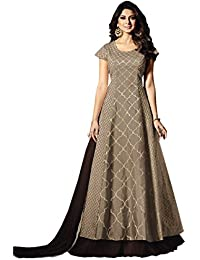 Brown Bangalory Silk Embroidered Long Anarkali Suit