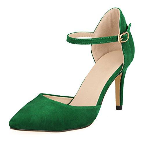 DULEE Damen Strap Stiletto Heel Spitzschuh Sandalen High Heel Pumps,Grün 38 -