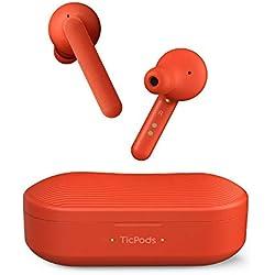 Mobvoi TicPods Free Son Auriculares Bluetooth inalámbricos auténticos con Estuche de Carga, Resistente al Agua, Audio nítido y Claro en Ambos oídos, Aislamiento de Ruido - Lava