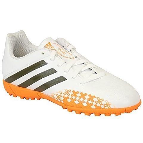 Jungen ADIDAS Trainers Kinder Fußball Astro Turf Schuhe Geschnürt Neon Jugend - weiß/Orange - ADF32586, UK 11/EU 29
