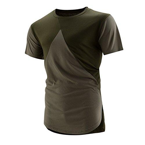 BOMOVO Herren Spleiß T-Shirt Basic - Slim Fit Grün