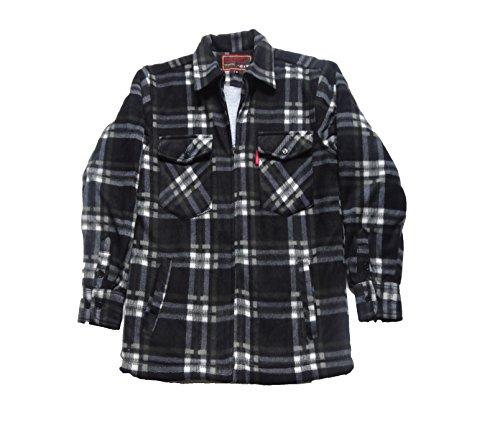Camicia in pile da uomo stile boscaiolo con fantasia a quadri black/white check xx-large