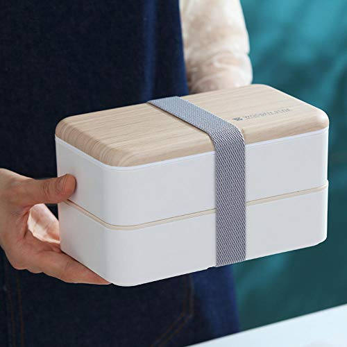 LVYONG Bento Box Holz Lunchbox Doppel Erwachsene Student Lunchbox Gurt Sushi @ 1-2L_White Bento Sushi Box