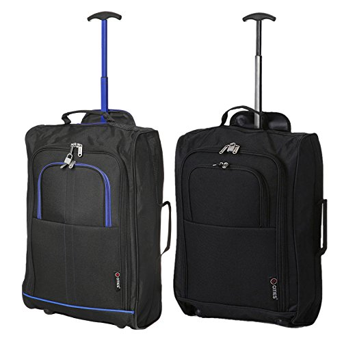 Set of 2 Super Lightweight Cabin Approved Luggage Travel Wheely Suitcase Wheeled Bags Bag (Black/Blue + Plain Black)