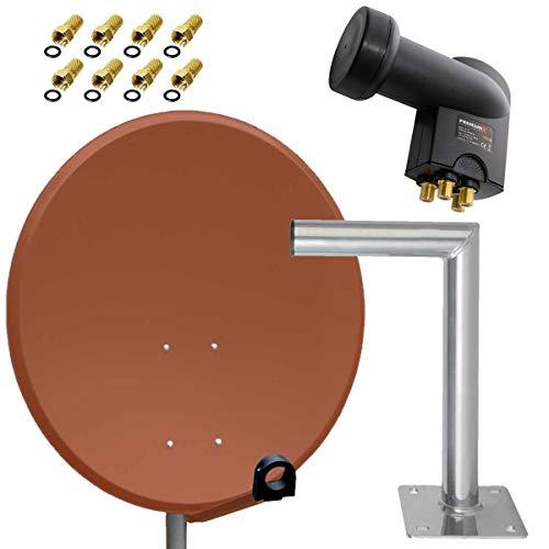 PremiumX Antenne Stahl Ziegelrot 80cm Sat Schüssel Spiegel FullHD HDTV + Quad LNB 0,1 dB Quattro Switch 4 Teilnehmer + Wandhalter 45cm ALU TÜV + 8X F-Stecker