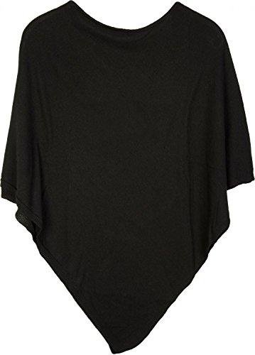styleBREAKER weicher Feinstrick Poncho in Unifarben, Rundhals, Damen 08010042, Farbe:Schwarz