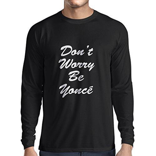 lepni.me Langarm Herren t Shirts Keine Sorge! wie Man Glücklich ist, Große Zitate, Berühmte Positive Sprüche (XX-Large Schwarz Weiß)