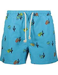 9dd1f2cb1b Havacoa Aqua Blue Mexican Skull Print Swimming Trunks