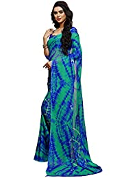 Ligalz Women's Chiffon Printed Saree With Unstitched Blouse Piece - AMD033868_Blue And Green_Free Size