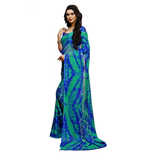 Ligalz Women's Chiffon Printed Saree with Unstitched Blouse Piece - AMD033868_Blue and...