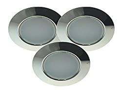 Trango TGG4E-012 Set of 3 Stainless Steel-Look LED Recessed Downlights, 12Volt, AC / DC, to Replace Standard G4 Furniture Luminaries / Kitchen Hood Lights etc. chrome