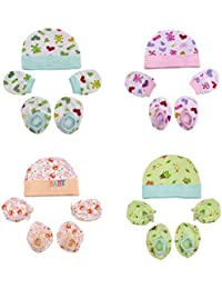 0Month+ Soft Cotton Baby Caps Mittens and Booties (Multicolour) - Pack of 4