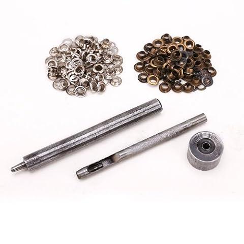 surepromise - Kit Outil Serrage Oeillet 4 mm Bricolage Cuir + 50 Oeillets Argent + 50 Oeillets Bronze