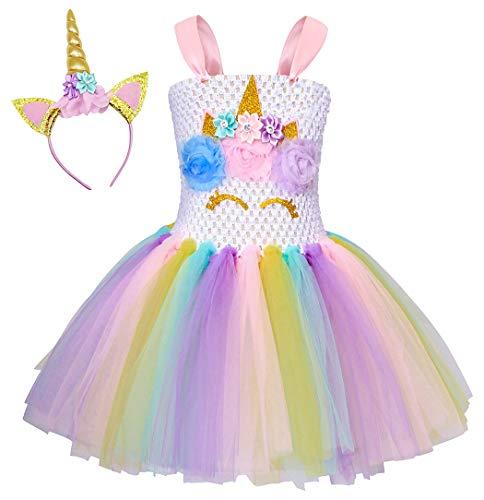 AmzBarley Einhorn Kostüm Tutu Kleid Kinder Einhörner Mädchen Prinzessin Kleider Geburtstag Party Ankleiden Karneval Halloween Cosplay Abendkleid Kleidung mit Stirnband (Tutu Kleid Für Halloween)