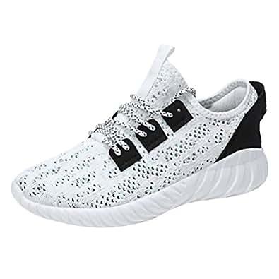 Basse Sportive Outdoor SneakersNero Bianco Cachi 41-46 (EU=42, Bianca)