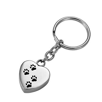 HooAMI Memorial Jewellery Stainless Steel Dog Footprint Cremation Urn Ashes Keepsake Pendant Keychain Keyring, Normal 1
