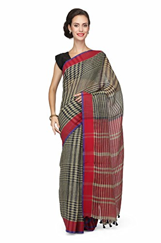 The Weave Traveller Handloom Women'S Gamcha/Checkered Linen Saree With Blouse (Multicolor)