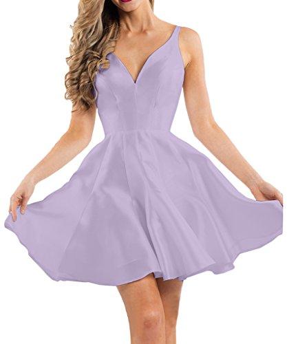 Victory Bridal 2016 Neu Einfach Chiffon V-ausschnitt Cocktailkleider Partykleider Heimkehr Tanzenkleider Mini A-linie Flieder