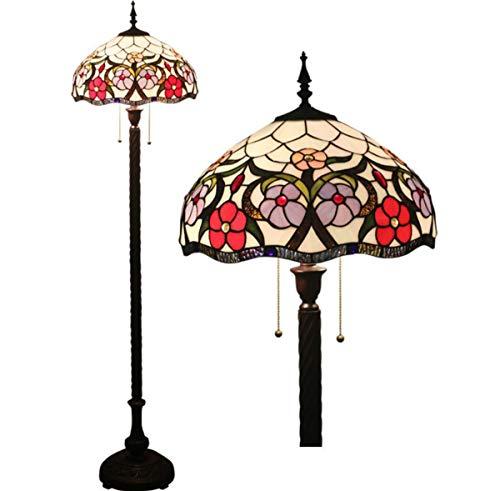 Floral Vintage Stehlampe (GDLight Tiffany-Stil Lesen Stehlampe Vintage Pastoral Floral Glasmalerei Stehlampe mit Zinklegierung Basis für Schlafzimmer Wohnzimmer, 63 Zoll hoch)