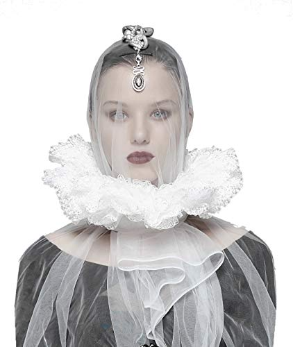 Punk Rave Erdbeere aus weißer Spitze mit Schnürung, Gothic Elegant Aristocrates