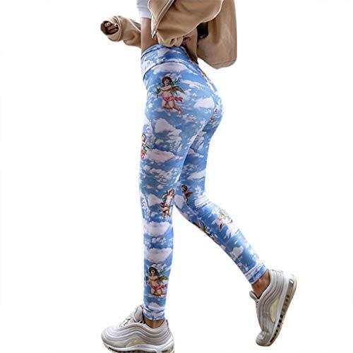 (Lazzboy's Strumpfhosen Leggings Mode Frauen Sexy Yoga Hosen Der Engel von Cupid Print (Blau,M))