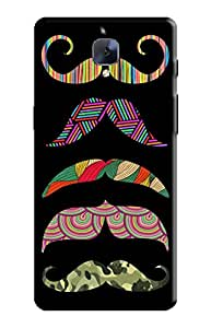 KanvasCases Back Cover for one plus 3 - moustache shades with black