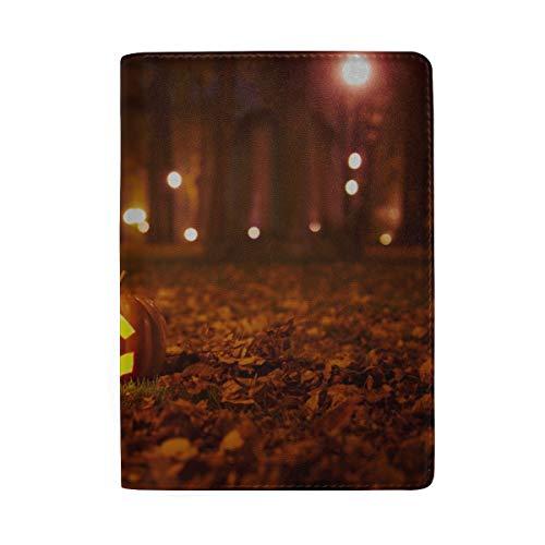 Halloween Kürbis Mit Brennenden Kerzen Blockieren Print Passinhabers Abdeckung Fall Reisegepäck Passport Wallet Kartenhalter Aus Leder Für Männer Frauen Kinder Familie