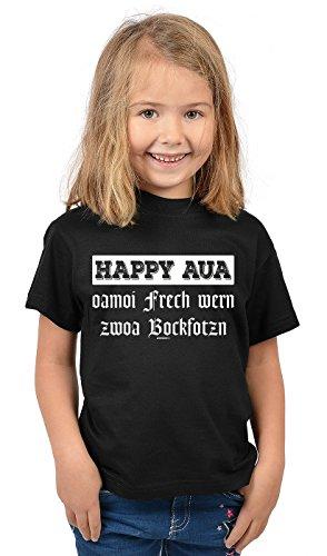 Oktoberfest - Tshirt Für Kinder - Volksfest Sprücheshirt : Happy AUA oamoi Frech wern Zwoa Bockfotzn - Mundart bayrischer Dialekt Kindershirt Gr: L = 146-152