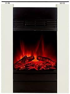 el fuego chemin e lectrique avec effet flamme plus vrai que nature mod le tessin blanc classe. Black Bedroom Furniture Sets. Home Design Ideas