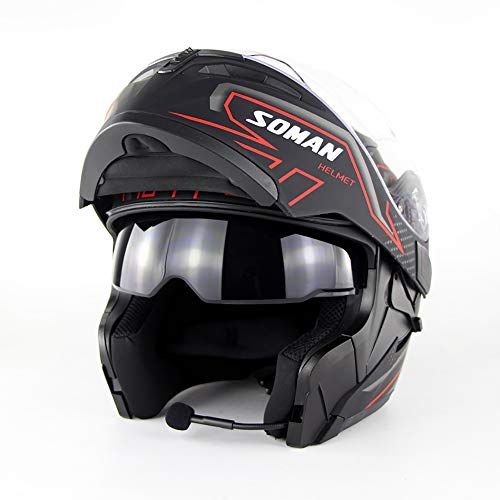 Motorradhelm, Bluetooth, D-Zertifizierung, T-Vollgesicht, Bluetooth, Racing-Helm, Bluetooth, 300 Stunden Standbyzeit, Anruf Musik (S, M, L, XL, XXL), M
