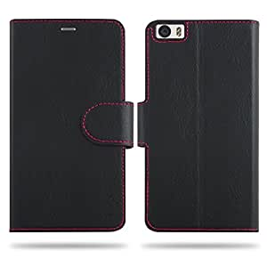 Cool Mango Compact Flip Cover for Xiaomi Mi 5 - 100% Premium Faux Leather Flip Case for Xiaomi Mi5 with 360 Degree Stitching, Magnetic Lock, Card Currency Slot (Jet Black)