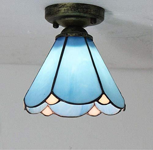 6 Tiffany Deckenleuchte (Grz Tiffany-Stil Deckenleuchte, 6 Zoll europäische kreative Glasmalerei-Deckenleuchte, handgefertigter Lampenschirm, für Wohnzimmer, Schlafzimmer, Arbeitszimmer, Flur usw,Blue)