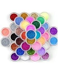 XI CHEN 45 Color Nail Art Makeup Decoration Glitter Dust Powder (45PCS) by XICHEN