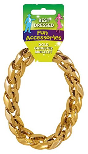Chunky Gold Gangster Pimp Bracelet Mens Fancy Dress Jewelery